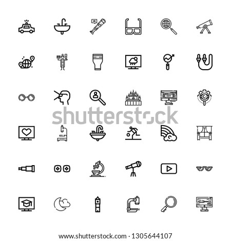 Editable 36 view icons for web and mobile. Set of view included icons line Monitor, Search, Microscope, Big ben, Night mode, Television, Glasses, Youtube, Telescope on white background