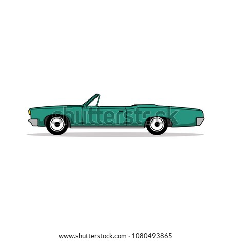 editable vintage car vector
