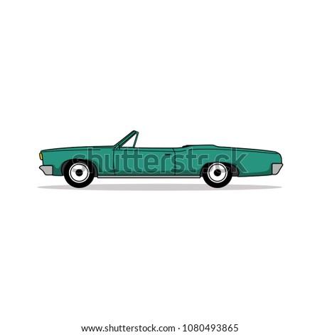 editable vintage car vector