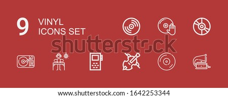 Editable 9 vinyl icons for web and mobile. Set of vinyl included icons line Phonograph, Vinyl, Cello, Record, DJ, Turntable on red background