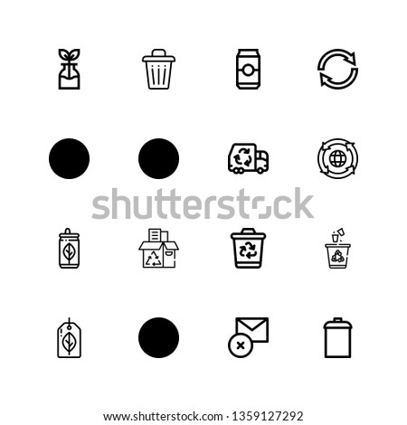 Editable 16 waste icons for web and mobile. Set of waste included icons line Garbage, Delete, Recycling, Recyclable, Recycling bin, Recycling box, Can, Garbage truck on white background
