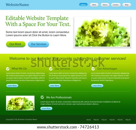 Editable web site template - green and blue colors