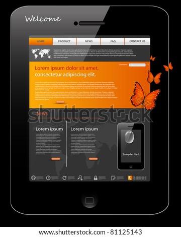 Editable website template, phone design