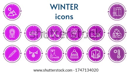 editable 14 winter icons for