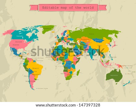 Vintage world map vector download free vector art stock graphics editable world map with all countries vector illustration eps8 gumiabroncs Images