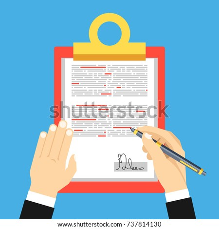 Editing documents to correct errors. Clipboard and red pen in hands of men. Spell check. Vector illustration flat design.