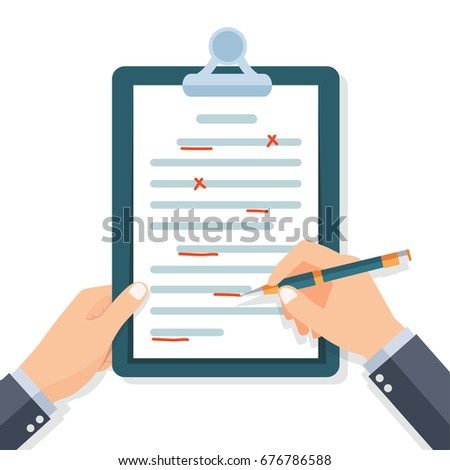Editing documents to correct errors. Proofreader checks transcription written text. Clipboard and pen in hands of men. Spell check. Vector illustration flat design. Isolated on white background.