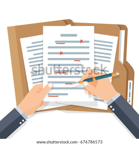 Editing documents to correct errors. Proofreader checks transcription written text. Spell check. Vector illustration flat design. Isolated on white background.