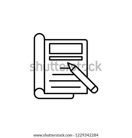 Editorial design, pen, note  icon. Element of editorial design icon. Thin line icon for website design and development, app development. Premium icon - Shutterstock ID 1229342284