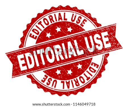 EDITORIAL USE seal print with distress texture. Rubber seal imitation has round medal shape and contains ribbon. Red vector rubber print of EDITORIAL USE title with dust texture. - Shutterstock ID 1146049718