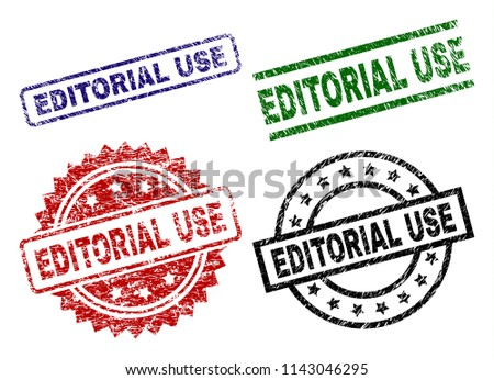 EDITORIAL USE seal prints with damaged style. Black, green,red,blue vector rubber prints of EDITORIAL USE caption with dirty style. Rubber seals with circle, rectangle, rosette shapes. - Shutterstock ID 1143046295