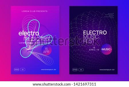 Edm flyer. Dynamic fluid shape and line. Cool concert magazine set. Neon edm flyer. Electro trance music. Techno dj party. Electronic sound event. Club dance poster.