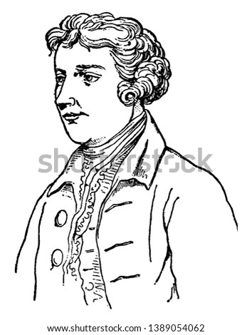Edmund Burke, 1729-1797, he was an Irish statesman, an author, orator, political theorist, and philosopher, he member of parliament in the House of commons with the Whig party, vintage line drawing
