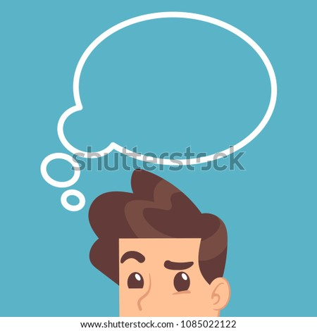 Educated student thinking with think bubble above head. Education vector concept. Illustration of man with idea bubble, businessman thinking