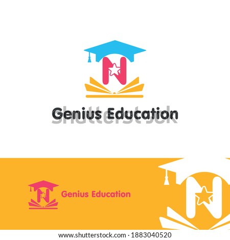 Education and academy letter N logo concept with opened book, star, and graduation cap. Course and training logo style vector template Foto stock ©