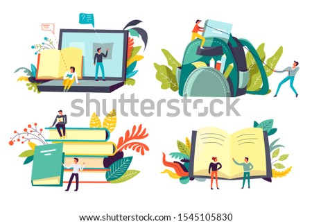 Education and degree receiving, students studying, books and knowledge, isolated icons vector. Subject learning and exam, lessons and classes, online course. Laptop and backpack, textbooks pile