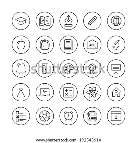 Education and learning flat thin line icons set, modern vector collection of high school objects and college items, teaching symbols and educational equipment. Isolated on white background.