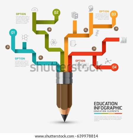 Education And Learning Infographic Pencil Step Diagram Vector Design Template.Vector - education infographic template design with pencil elements.