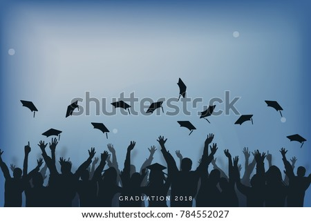education and people concept, students throwing graduation caps in the air