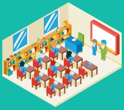 Education and school class isometric 3d concept. Bookshelf and teacher, pupil and isometric people, classroom and children, vector illustration