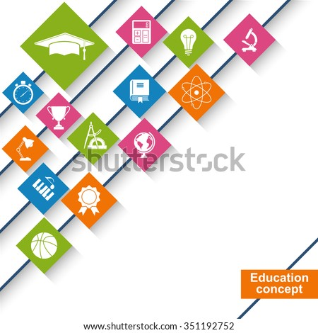 Education and science concept. Abstract education background with icons and signs. Vector illustration