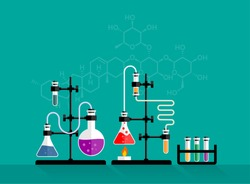 Education and science concept banner. Chemistry lab and science equipment. Pharmacy and chemistry theme. Test glass flask with solution in research laboratory.