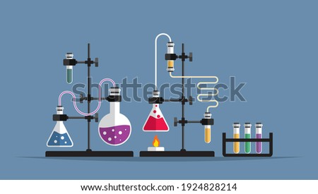 Education and science concept banner. Chemistry lab and science equipment. Pharmacy and chemistry theme. Test glass flask with solution in research laboratory. Stockfoto ©