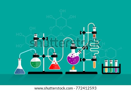 Education and science concept banner on green backgound. Chemistry lab and science equipment. Pharmacy and chemistry theme. Test glass flask with solution in research laboratory.