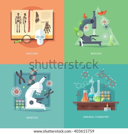 Education and science concept illustrations. Anatomy, biology, genetics and organic chemistry. Science of life and origin of species. Flat vector design banner.