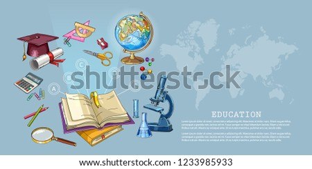 Education and science concept. Open book of knowledge. Back to school. Modern education elements, school tools