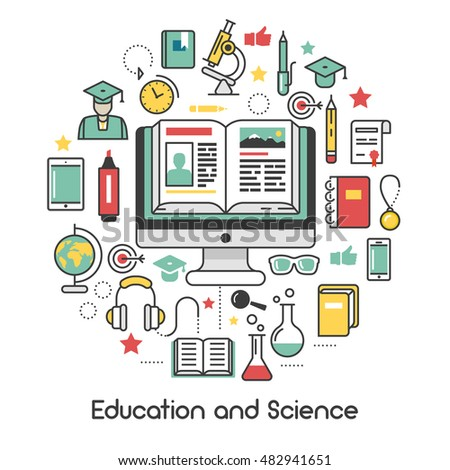 Education and Science Line Art Thin Vector Icons Set with Computer Microscope