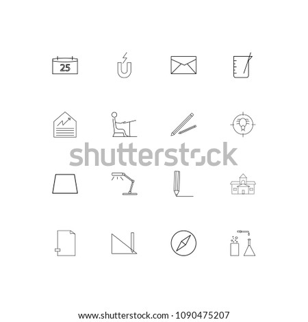 Education And Science linear thin icons set. Outlined simple vector icons