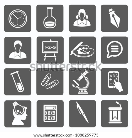 Education and science vector icon set