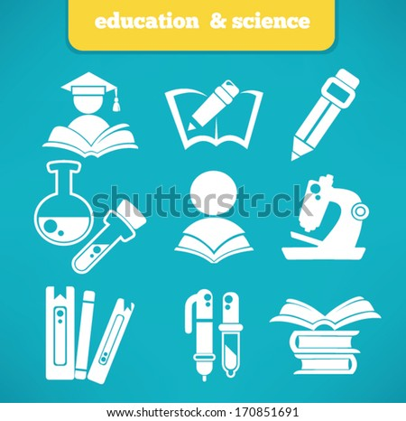 education and science vector symbols and flat icons collection