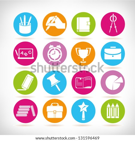 education and stationery icons set, colorful web icon, vector