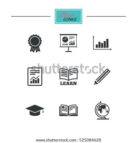 Education and study icon. Presentation signs. Report, analysis and award medal symbols. Black flat icons. Classic design. Vector
