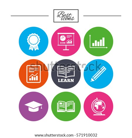 Education and study icon. Presentation signs. Report, analysis and award medal symbols. Classic simple flat icons. Vector
