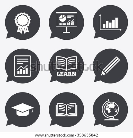 Education and study icon. Presentation signs. Report, analysis and award medal symbols. Flat icons in speech bubble pointers.