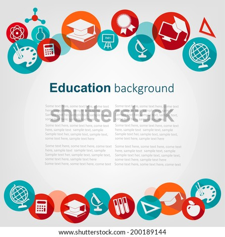 Education background with icons. Vector