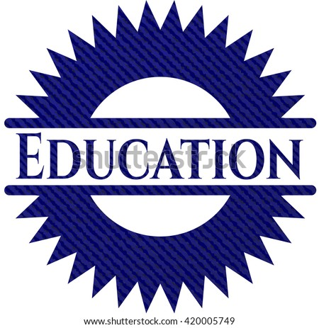 Education badge with jean texture