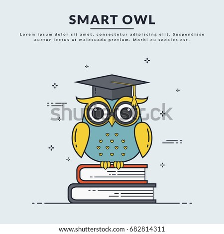 education banner with smart owl