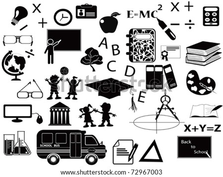 education black icon set for web design
