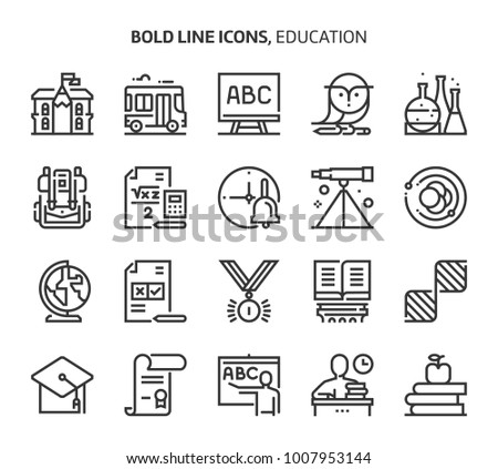 Education, bold line icons. The illustrations are a vector, editable stroke, 48x48 pixel perfect files. Crafted with precision and eye for quality.