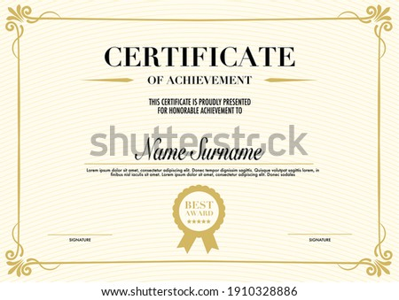 Education Certificate or diploma retro vintage design template Stock photo ©
