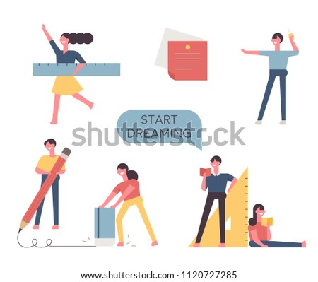 Education characters holding huge school supplies. flat design style vector graphic illustration set