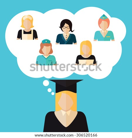 Education choice illustration with girl deciding future profession. Banner made in flat design with student woman and professions.