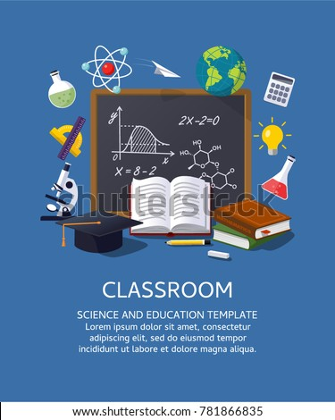 Education classroom background. Vector illustration template for workflow layout, banner, diagram, number options, step up options, web design.
