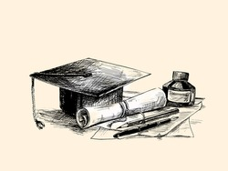 Education concept - Hand Drawn Sketch Vector illustration.