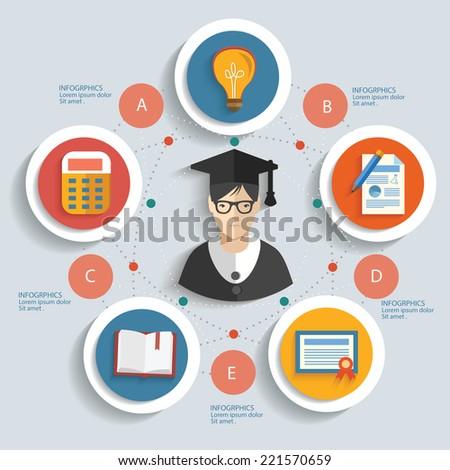Education concept info graphic design clean vector