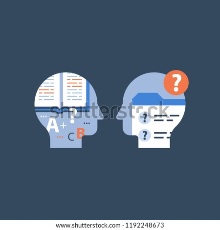 Education concept, open text book, exam preparation, study subject, school assignment, review knowledge, self learning, brief course, exercise book, vector icon, flat illustration